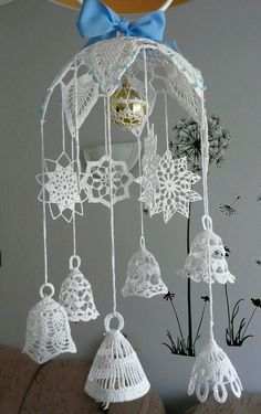 Make the most beautifully handmade Christmas lace ornaments for a more nostalgic note in the home's Christmas decorations during the holidays. Crochet Christmas Wreath, Crochet Christmas Decorations, Crochet Snowman, Christmas Crochet Patterns, Crochet Ornaments, Holiday Crochet, Crochet Snowflakes, Christmas Bells, Crochet Home