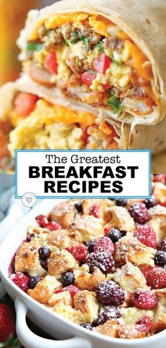 The Best Breakfast Recipes Are you searching for something new for breakfast? Do you want to send the kids off to school with a healthy breakfast. Here are some of the greatest breakfast recipes. Best Breakfast Recipes, Breakfast Dishes, Brunch Recipes, Breakfast Casserole, Breakfast Ideas With Eggs, Breakfast Crockpot, Easy To Make Breakfast, Brunch Dishes, Dinner Recipes
