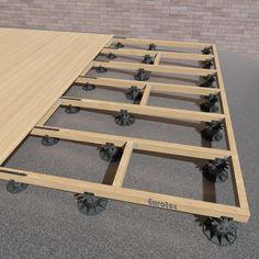 Rhino Liner for Wood Decks . Rhino Liner for Wood Decks . Eurotec Deck Support Plastic Adjustable Pedestal Eco M 20 Concrete Patios, Deck Over Concrete, Diy Deck, Diy Patio, Backyard Patio, Pallet Patio Decks, Wood Patio, Wood Decks, Wood Pool Deck