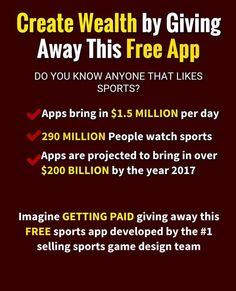 ((((((((((((((((((((((((KABOOM)))))))))))))))))))))))) Den Største Sports Gaming App nogensinde, vil blive sluppet løs til verden i september 2016. Vil du være med når den nyeste og hotteste APP lanceres i 2016? Top Affiliates er velkommen ombord i potentielt den mest lukrative mulighed i 2016 ... En ægte global multi-milliard USD Sports Gaming App, der forventes at nå ud til flere brugere end nogen anden APP, blive frigivet i dette efterår. Du kan igennem mig få en position allerede nu…