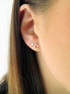 Emerald Earrings with Round Diamonds in Gold / Emerald Green Earrings / Emerald Stud Earrings / May Birthstone - Fine Jewelry Ideas - Ear Piercing Ear Piercing For Women, Double Ear Piercings, Cute Ear Piercings, Gold Star Earrings, Emerald Green Earrings, Diamond Earrings, Gold Bracelets, Dainty Earrings, 14k Earrings