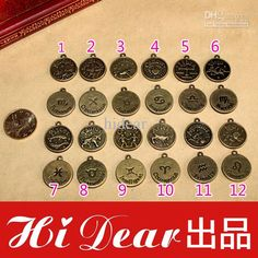 Wholesale Loose Beads - Buy Twelve Constellations Charms 18mm Retro Brass Tone Alloy Metal Vintage Broze Plated Jewelry Charms Pendants Acce...
