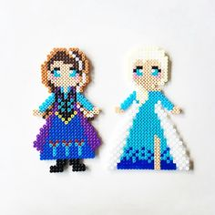 Anna and Elsa - Frozen perler beads by perler_art