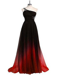 Lmanbuyunduan Prom Dress One Shoulder Gradient Party Gown LM062BLKRDUS10 -- Check this awesome product by going to the link at the image.