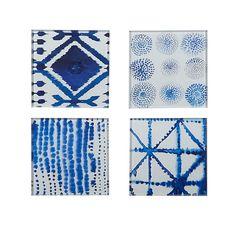 Metrik Lot de 4 dessous de verre en verre blancs et bleus