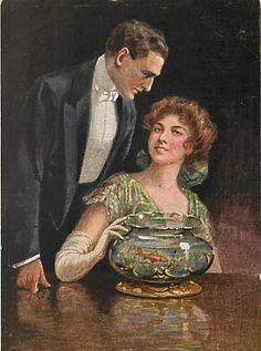 Vintage Couples, Romantic Couples, Vintage Ladies, One Fish Two Fish, Fish Fish, Passion Lovers, Amazing Aquariums, Art Through The Ages, Goldfish Bowl