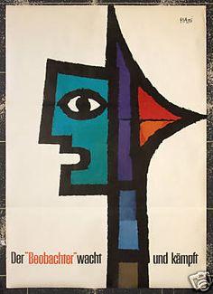 Original Vintage Poster Swiss Piatti Beobachter Face | eBay