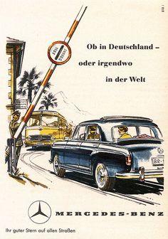 Die hellste stern von allen, Mercedes Benz 180 (W Mercedes 180, Classic Mercedes, Mercedes Benz Cars, Mercedes Benz Germany, Vintage Advertisements, Vintage Ads, Vintage Posters, Chevrolet Impala, Auto Union