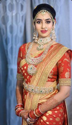 Bridal Sarees South Indian, Indian Bridal Fashion, Indian Bridal Wear, Pink Diamond Jewelry, Diamond Studs, Gold Jewelry, Saree Jewellery, Bridal Jewellery, Vaddanam Designs