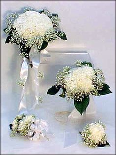Your Fresh Carnation Wedding Package includes:1 Bridal Bouquet 3 Attendants Bouquets 1 Grooms Boutonniere 3 Groomsmen Boutonnieres 2 Mothers Corsages    All hand-tied fresh Carnations enhanced with fresh babys breath and satin ribbon.