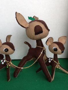 Kawaii Christmas Felt Plush Deer Bambi Mom and Twin Babies