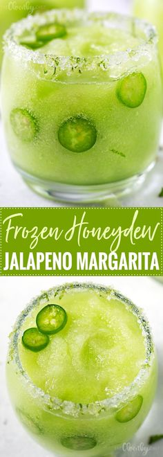 Frozen Honeydew Jalapeno Margarita | Jalapeno infused tequila is blended with fresh honeydew melon and ice to make a beautiful and refreshing summer margarita cocktail! | http://thechunkychef.com