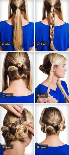 Back central braid coiled into a bun and two side braids tucked up next to it.  So cute!  And better yet, no french braiding to confound me!  I could do this.  I will do this.