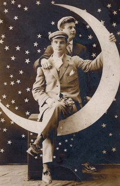 Brothers on a Moon ~ 1920s Paper Moon Postcard via pooralias