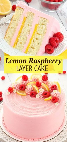 This Lemon Raspberry Layer Cake has moist, light layers of lemon cake, lemon curd filling and a raspberry frosting. It's decorated with buttercream, lemon slices and a few blossom flowers for a cake that's perfect for summer! Rasberry Cake, Raspberry Frosting, Raspberry Lemonade Cake, Baking Recipes, Cake Recipes, Dessert Recipes, Kitchen Recipes, Easy No Bake Desserts, Delicious Desserts