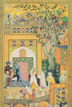 the funeral The Murqqa-e-Golshan Mughal Miniature Paintings, Mughal Paintings, Islamic Paintings, Middle Eastern Art, Islamic Art Calligraphy, Calligraphy Alphabet, Iranian Art, Art Brut, Historical Art