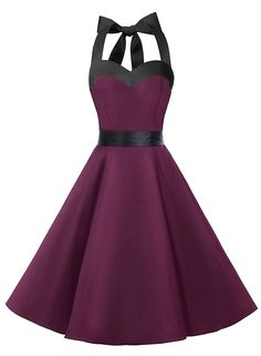50s Vintage Style Halter Dark Purple Ruched Retro Party Dress