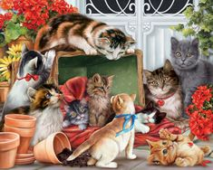Garden Cats - 1000pc Jigsaw Puzzle by Vermont Christmas Company - SeriousPuzzles.com