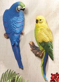 Tropical Parrot Bird Hanging Wall Decor From Collections Etc