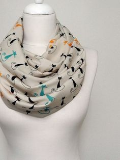 Cat pattern Infinity scarf, Circle Scarf, Loop Scarf, Scarves, Shawls, mother's day Spring - Fall - Winter - Summer fashion
