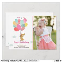 Puppy dog Birthday invitation Balloons Girl pink Girl 2nd Birthday, First Birthday Parties, First Birthdays, 2nd Birthday Invitations, Custom Invitations, Colored Envelopes, White Envelopes, Puppy Party, Pink Girl