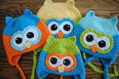oh boy oh boy free crochet owl hat pattern-I like the ears.They'd make a cute kitty hat. (I'm a bit over owls-ssh-don't tell.)
