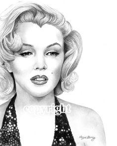 Marilyn Monroe, Pencil Drawing, Celebrity Portrait,