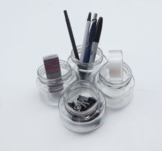 Glass Jar Desk Organizer by PiecesofhomeMosaics on Etsy, $20.00
