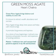 Crystal Healing with Green Moss Agate Crystal Healing with Green. Chakra Crystals, Crystals Minerals, Gems And Minerals, Crystals And Gemstones, Stones And Crystals, Gem Stones, Crystal Healing Stones, Crystal Magic, Quartz Crystal