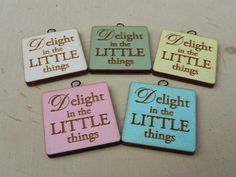 ONE Fairy Garden Sign accessories Delight in the Little things for miniature garden or terrarium your choice of five colors Miniature Hook