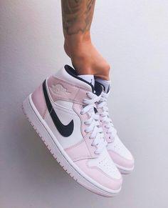 Mens Shoes Sale, Jordan 1 Mid, Shoe Sale, White Women, Pink Roses, Nike Air Force, Pink White, Men's Shoes, Air Jordans