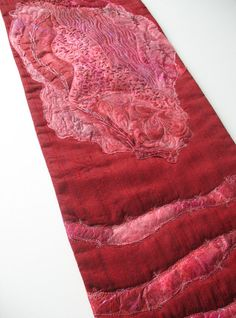 Cranberry Red and Pink Silk Fusion Art Quilt Wall by KathyKinsella