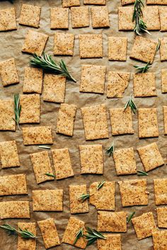 EASY Vegan Gluten-Free Crackers! 7 Ingredients, 1 Bowl, SUPER crispy and delicious! #vegan #glutenfree #crackers #rosemary #snack #recipe #minimalistbaker