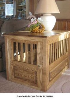 Ash WOOD DOG CRATE decorative solid wooden pet kennel crates