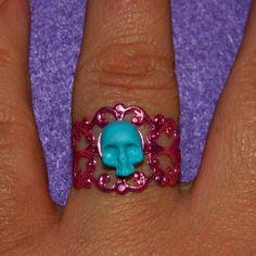 Mini skull, anello in filigrana regolabile