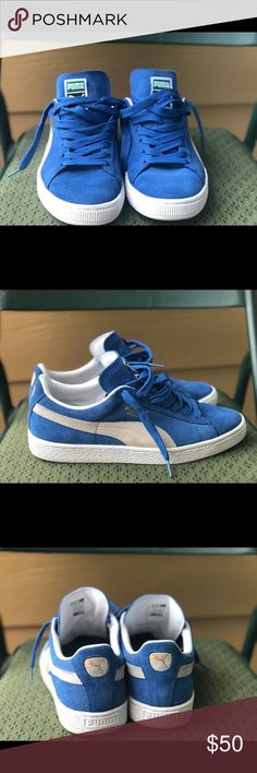 Men Pumas Blue and white men pumas - Size 10 — barely ever worn — very good condition Puma Shoes