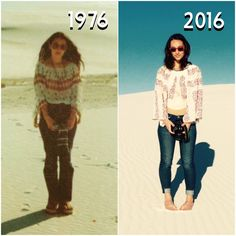 Anxious Traveler: Photo Recreations at White Sands and Revisiting My Childhood in New Mexico (my mom in 1976 and me in 2016 both at the age of 27)