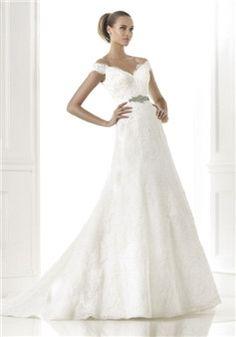 Floor Length Sleeveless Lace A line Off the Shoulder Natural Waist Wedding Dress - 1300301207B - US$289.99 - BellasDress
