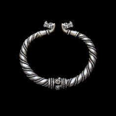 Bracelet with wolves heads (silver) viking. Bracelet from Gotland. Viking Brooch with animal headed. Viking bracelet