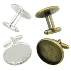2 Manschettenknöpfe 22x26mm 20mm Fläche silber bronze Cufflink Rohling | Bacabella Perlen und Schmuckzubehör