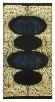 Frank Connet.  Indigo and walnut dyes on wool using shibori sewn resist. Mounted on stretcher.