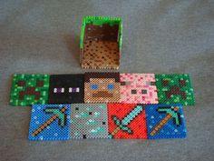Perler Bead Minecraft Drink Coasters with Grass Block holder  (20 Pics)