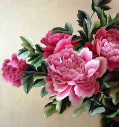 pink peonies Chinese silk embroidery