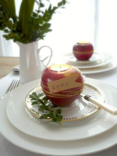 An apple candle holder + place card