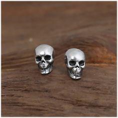 gothic silver earrings Bat skull earrings crystal skull studs sterling silver bat studs