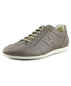 Hogan Fondo Dress Mod Cuc Round Toe Leather Sneakers, Grey
