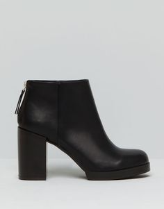 Pull&Bear - woman - women's footwear - high heel ankle boots with zip - black - 15250011-I2015