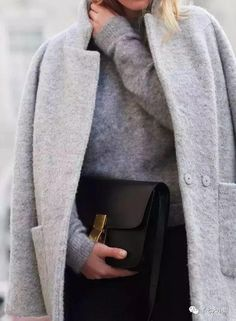 I like this coat. I have a dark grey coat already but I'm liking the light grey of this one. Looks Street Style, Street Look, Looks Style, Fashion Mode, Look Fashion, Fashion Outfits, Womens Fashion, Fall Fashion, Fashion 2018