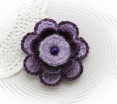 HAND CROCHET CORSAGE BROOCH APPLIQUE PURPLE LILAC MOHAIR ACRYLIC FLOWER | eBay