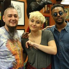 Paris Jackson Dedicates New Tattoo to Her Father Michael: 'He Was the King of My Heart' (in MJ's handwriting). She is here with Justin Lewis, the tattoo artist who did the work and her cousin, singer-songwriter Austin Brown (Rebbie's son).